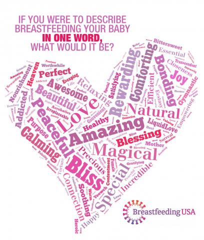 "If you were to describe breastfeeding your baby in one word, what would it be?"" A heart shape is formed by the words Precious, worthwhile, awesome, Beautiful, peaceful, heaven, purpose, caming, acrobatics, love, convenient, healthy, amazing, relaxing, connection, bliss, soothing, magical, life, yeowch, special, blessing, best, gymnastics, and more."