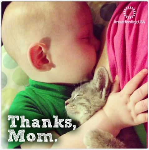 "A sleeping baby nurses with one arm around a kitten. ""Thanks, Mom."""